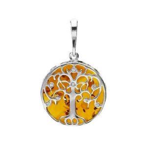 Amber Medium Tree of Life Pendant