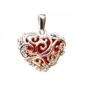 Stunning Amber Heart Cage Pendant