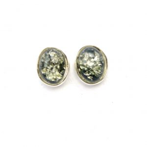Beautiful Green Amber Oval Studs