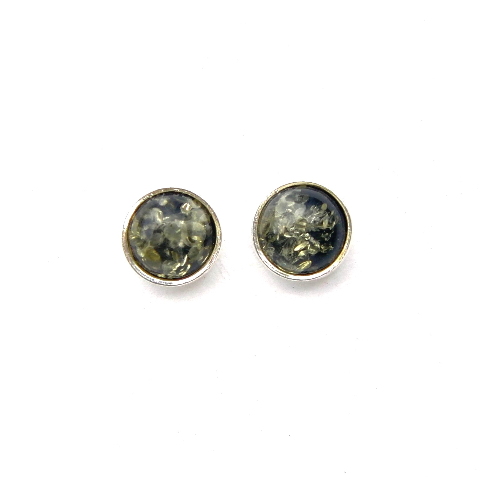 Lovely Green Amber Round Studs