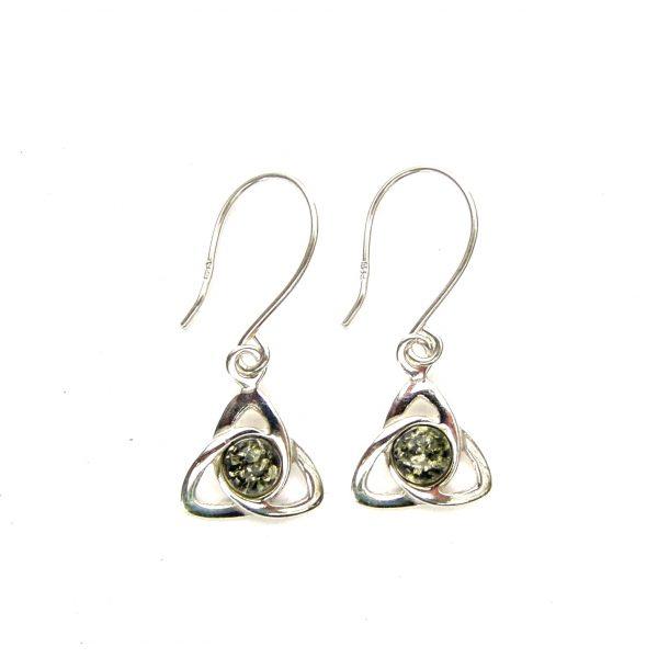 Beautiful Green Amber Goddess Triquetra Earrings