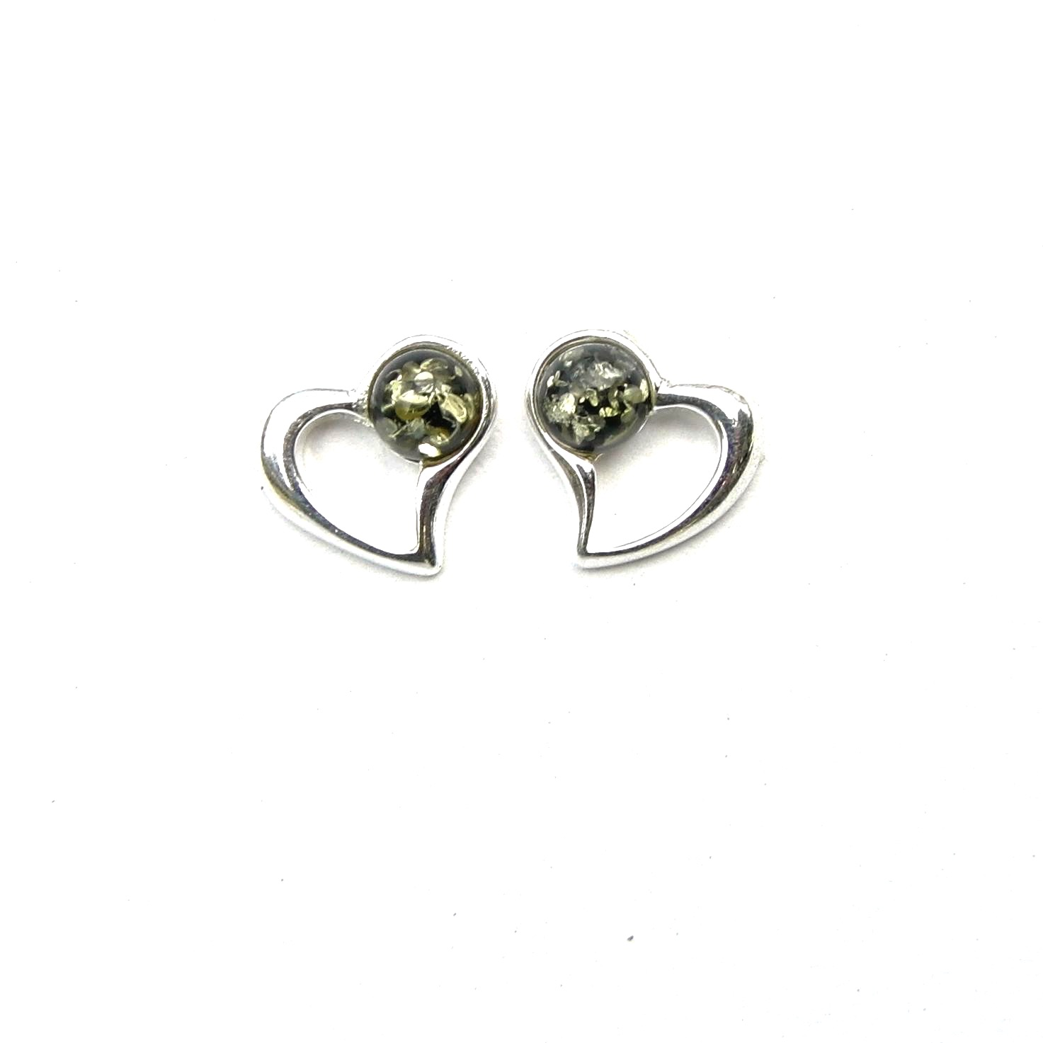 Beautiful Green Amber Heart Studs