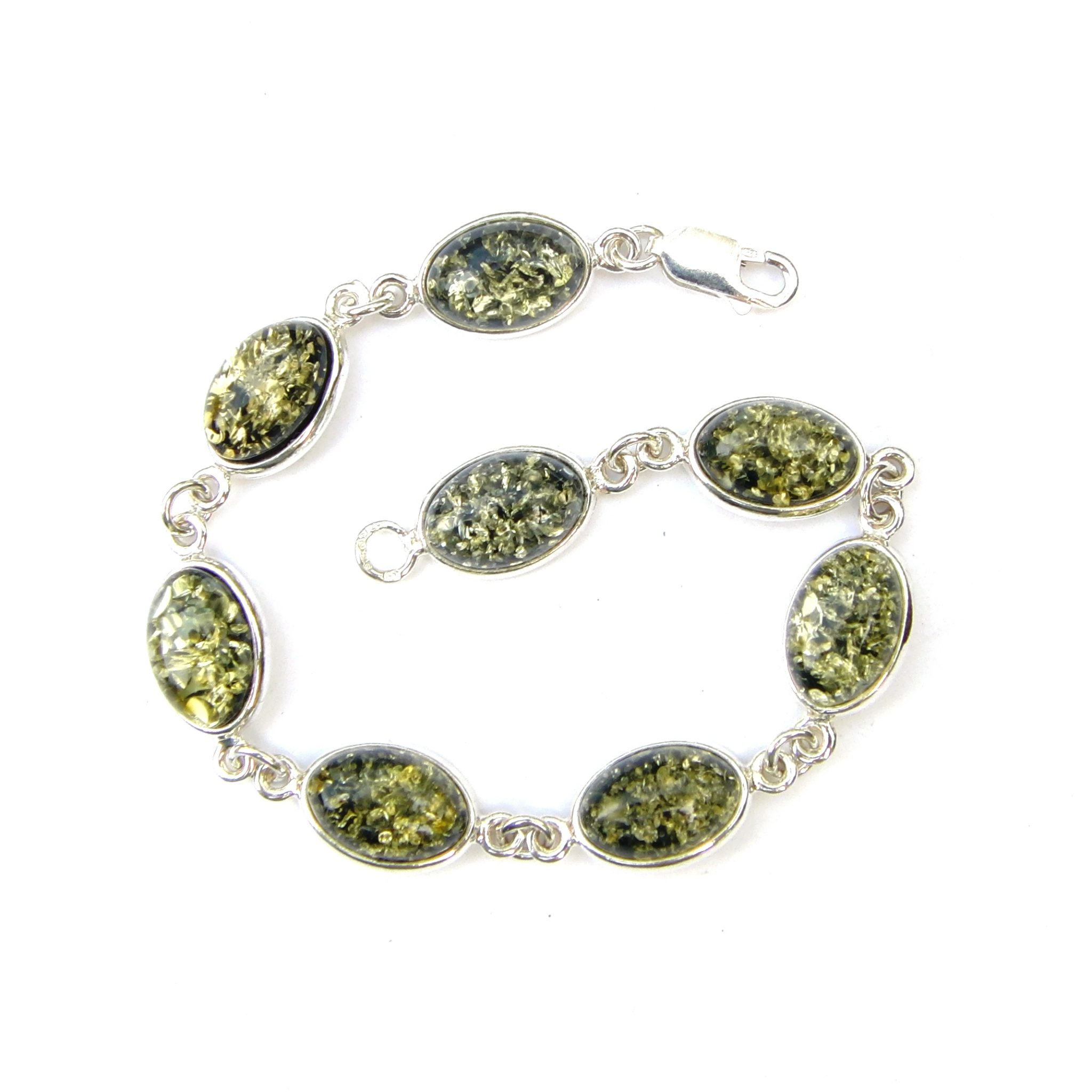 Beautiful Green Amber Oval Cabochon Bracelet