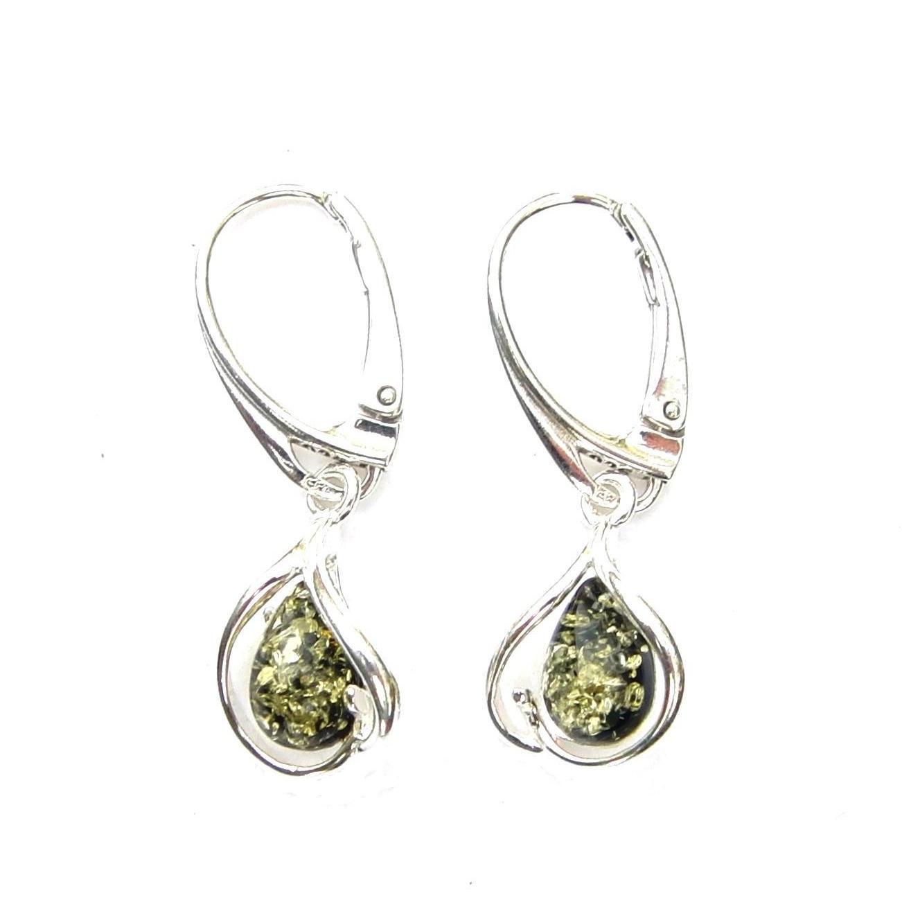 Beautiful Green Amber Teardrop Earrings