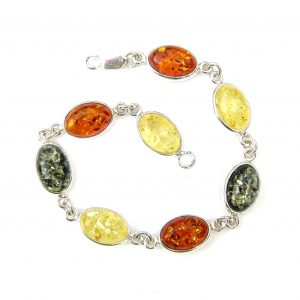 Beautiful Mixed Amber Oval Cabochon Bracelet