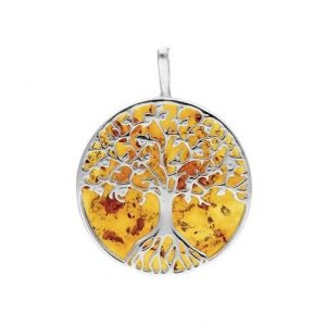 Amber Large Tree of Life Pendant
