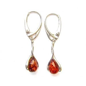 Pretty Amber Teardrop Cabochon Earrings