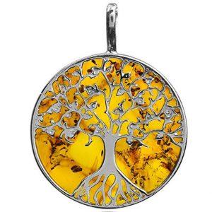 Amber Large Tree of Life Pendant
