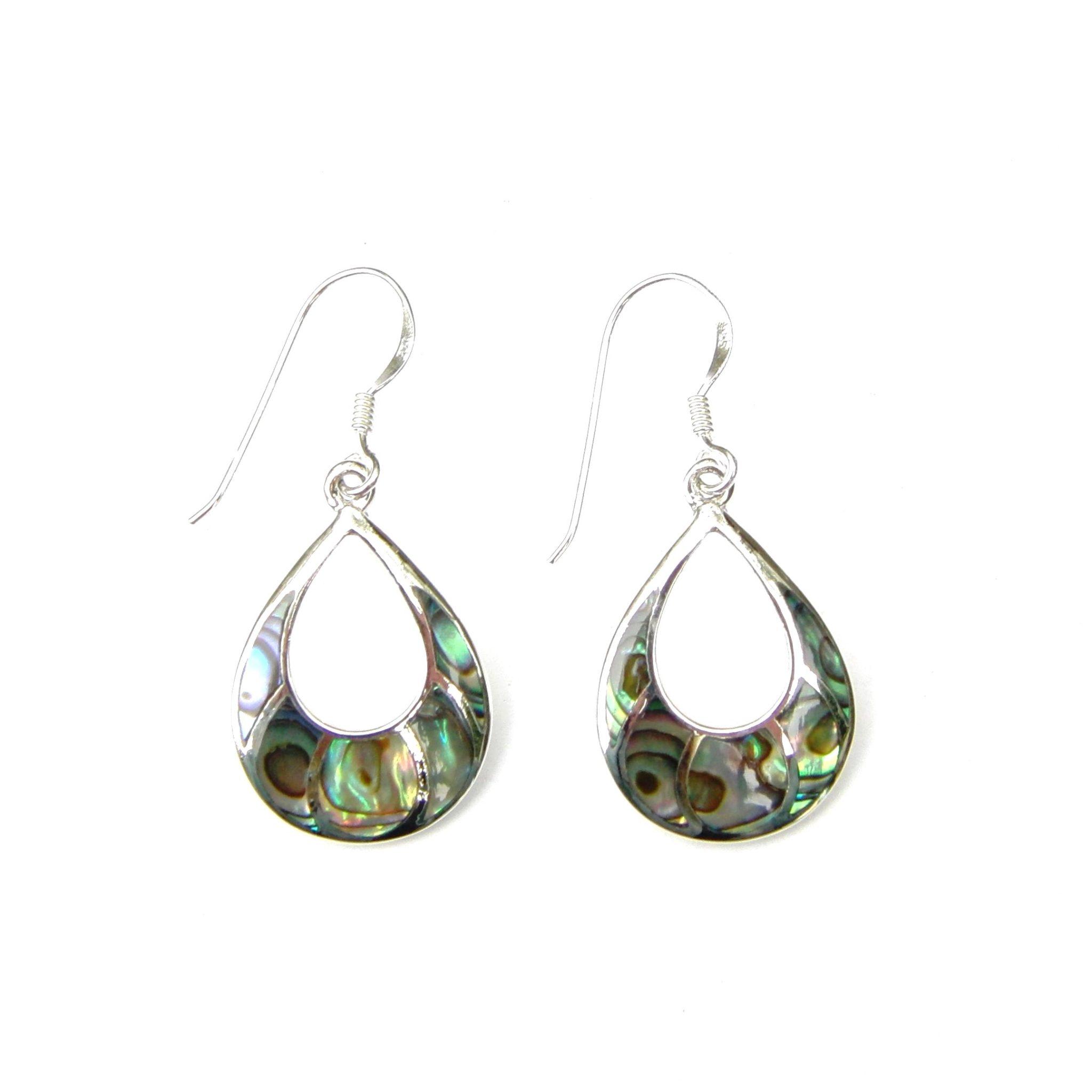Beautiful Abalone Shell Silver Earrings