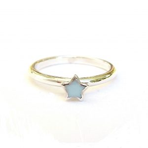 Beautiful Blue Star Silver Stacking Ring