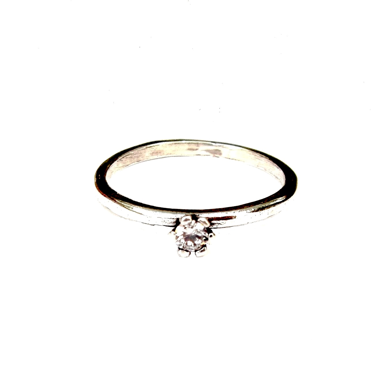 Beautiful Crystal Silver Stacking Ring