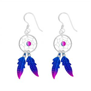 Blue Magenta Dreamcatcher Earrings