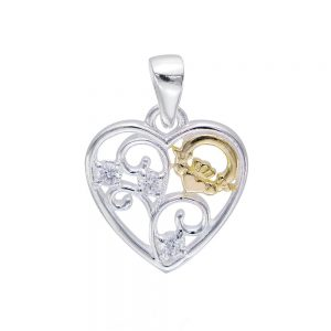 Celtic Claddagh Filigree Heart Pendant