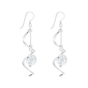Stunning Long Crystal Swirl Earrings
