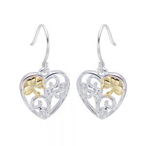 Celtic Shamrock Filigree Heart Earrings