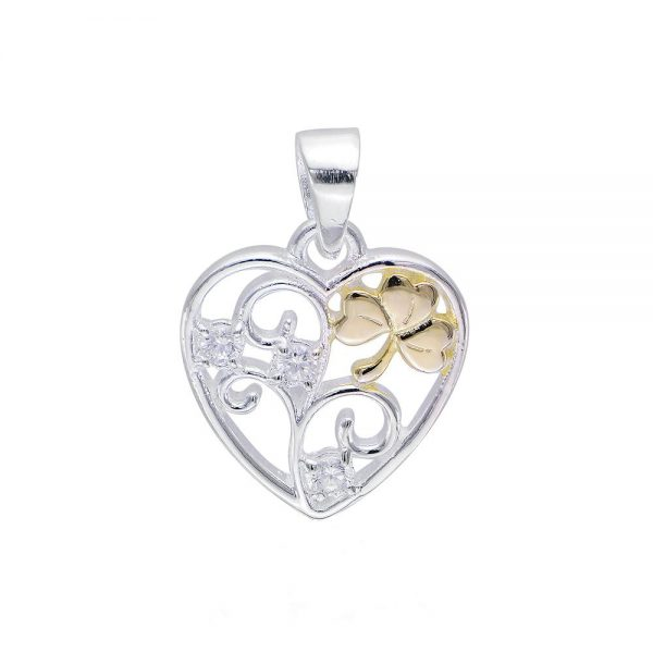 Celtic Shamrock Filigree Heart Pendant