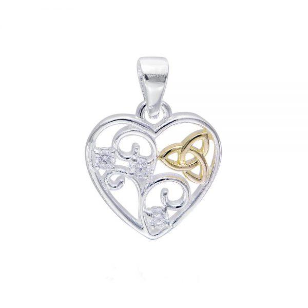 Celtic Trinity Knot Filigree Heart Pendant