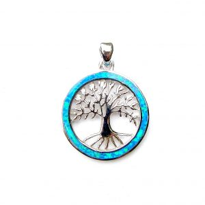 Absolutely Stunning Blue Opal Tree of life Pendant
