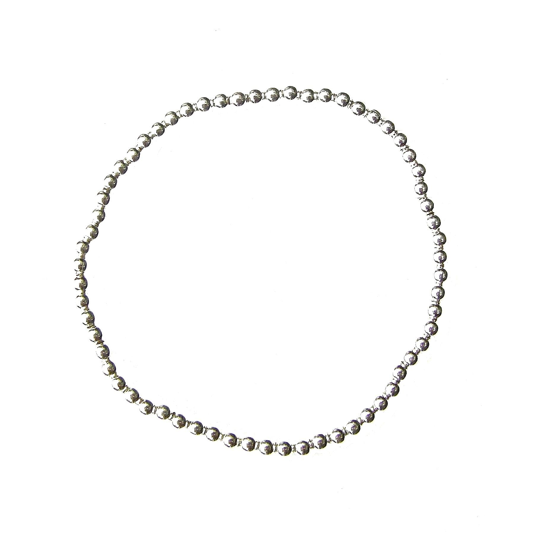 Beautiful 3mm Silver Beaded Charm Bracelet