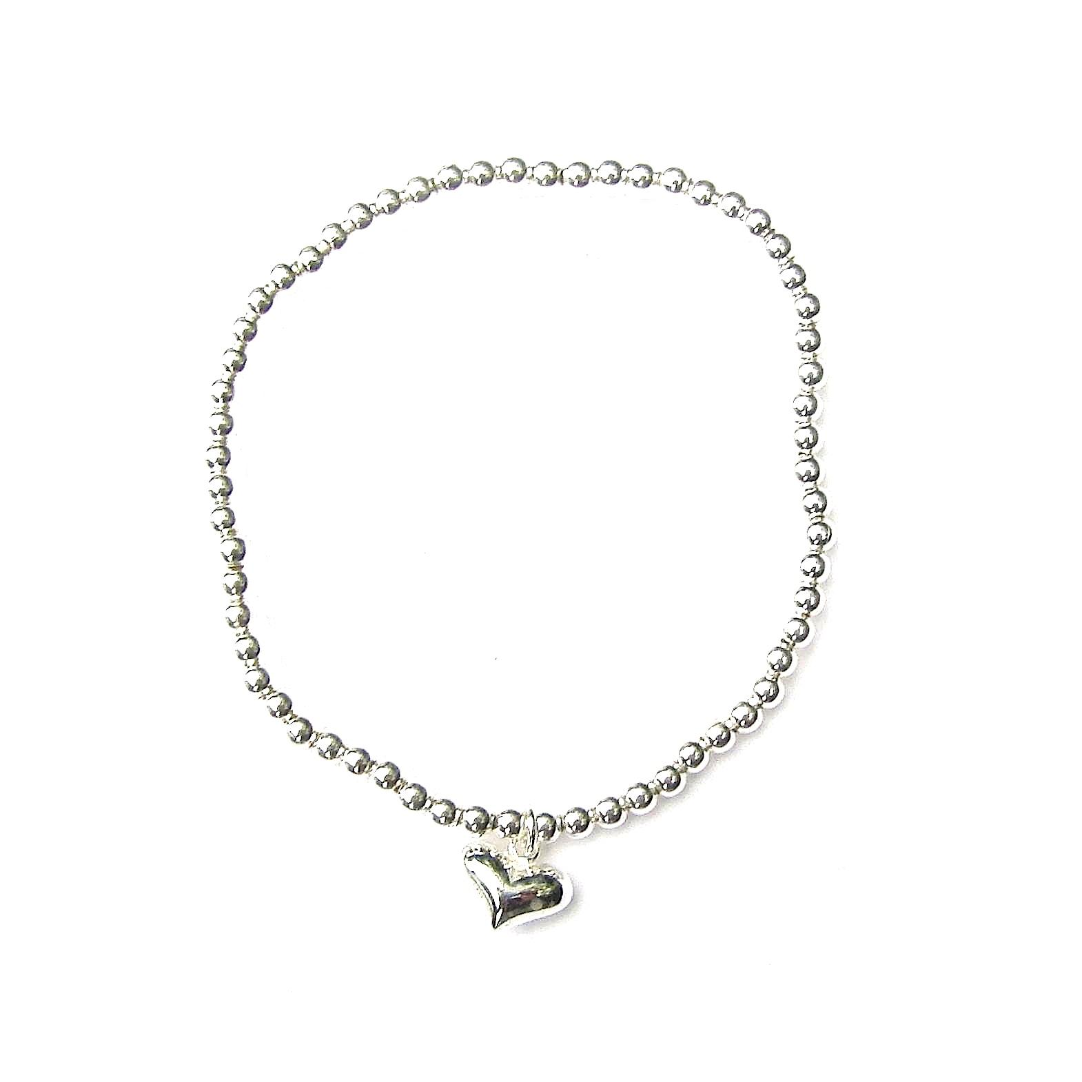 Beautiful Silver Heart Charm Bracelet