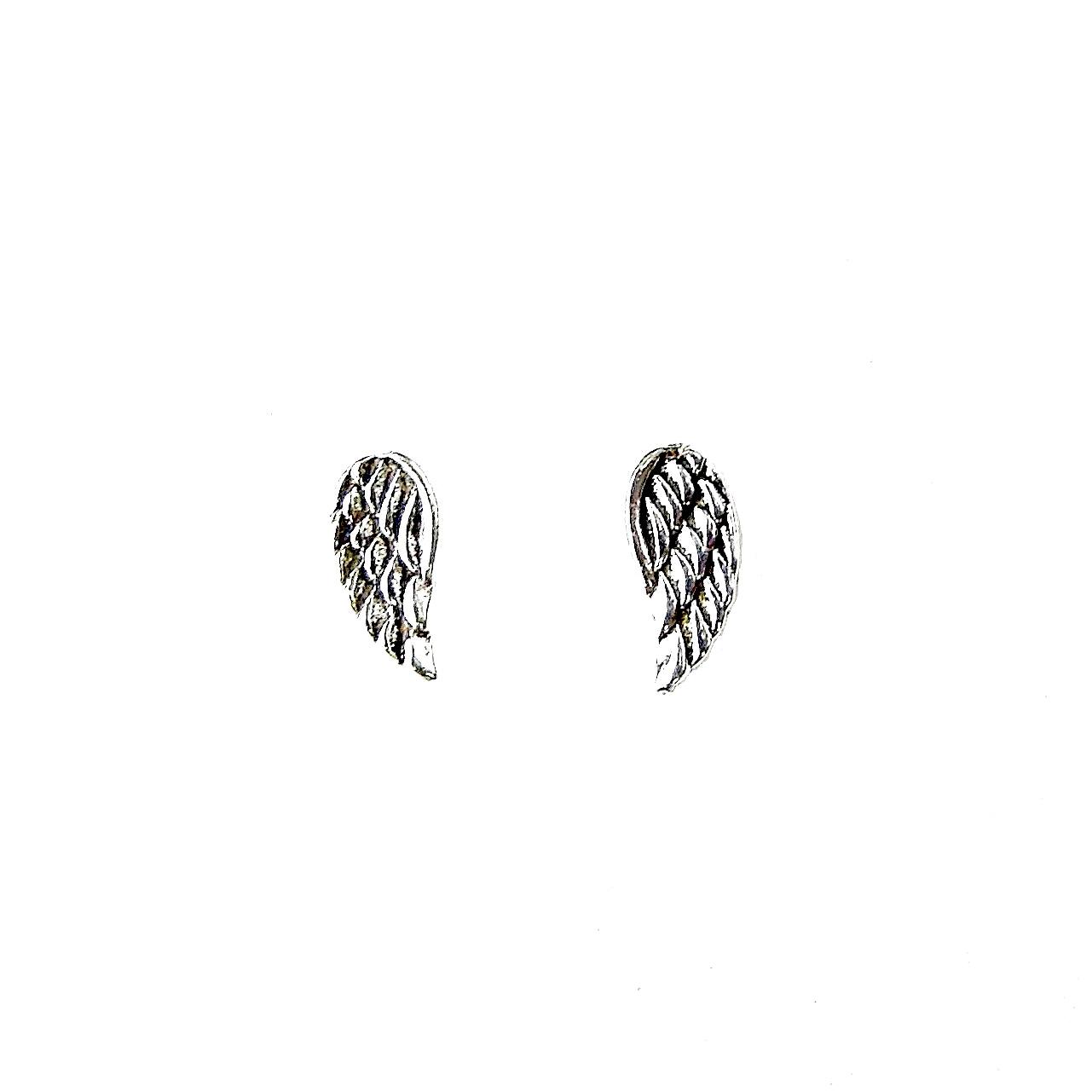 Beautiful Silver Angel Wing Studs