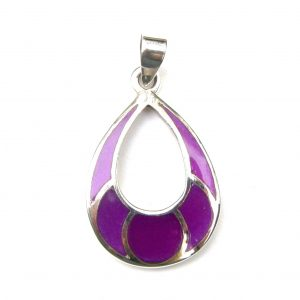 Beautiful Large Purple Shell Silver Pendant