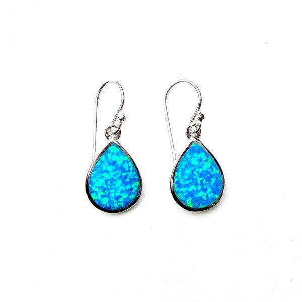 Stunning Blue Opal Teardrop Earrings