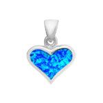 Lovely Blue Opal Heart Pendant