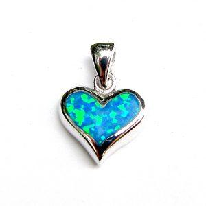Beautiful Dainty Blue Opal Heart Pendant.