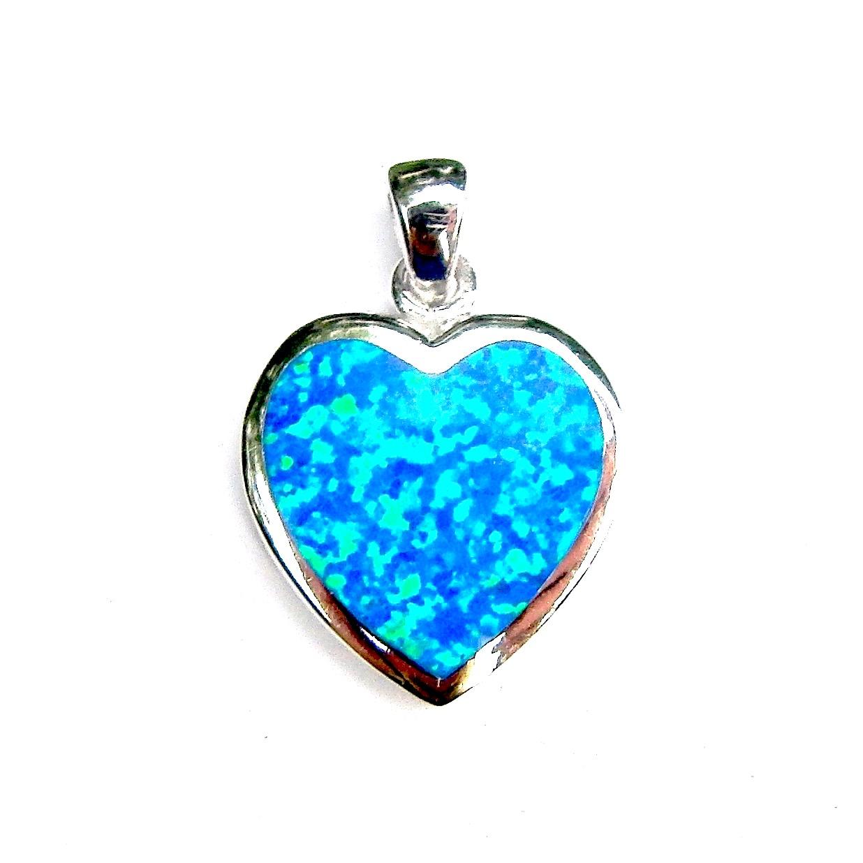 Beautiful Large Blue Opal Heart Pendant.