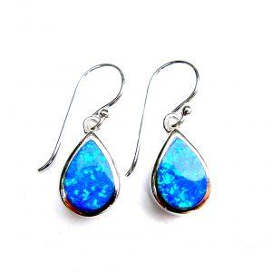 Beautiful Blue Opal Teardrop Earrings