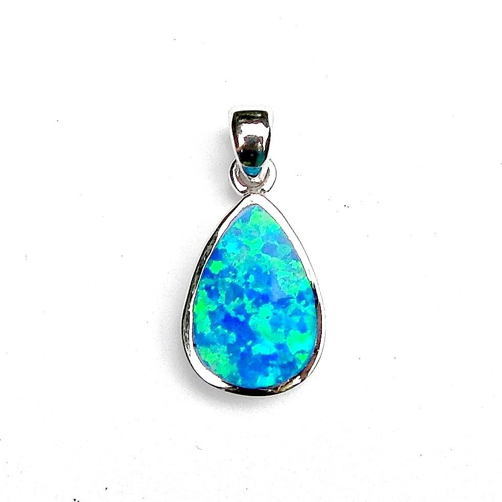 Beautiful Blue Opal Teardrop Pendant