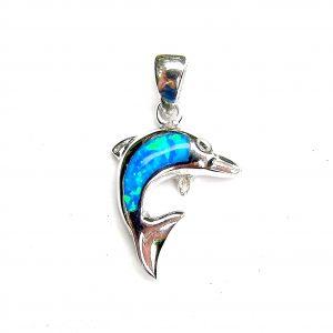 Stunning Blue Opal Dolphin Pendant
