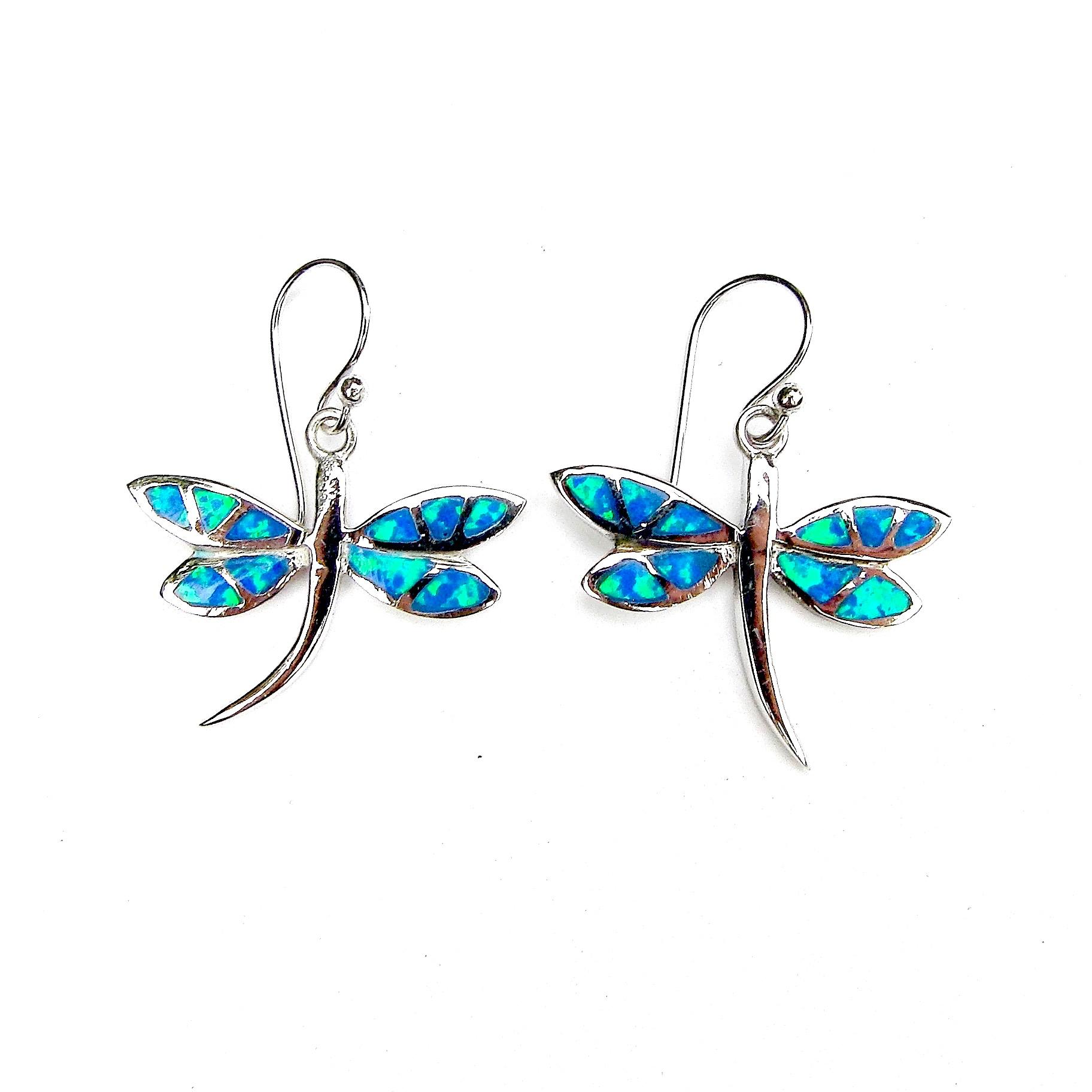 Stunning Blue Opal Dragonfly Earrings.