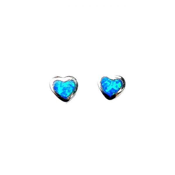 Stunning Blue Opal Heart Studs