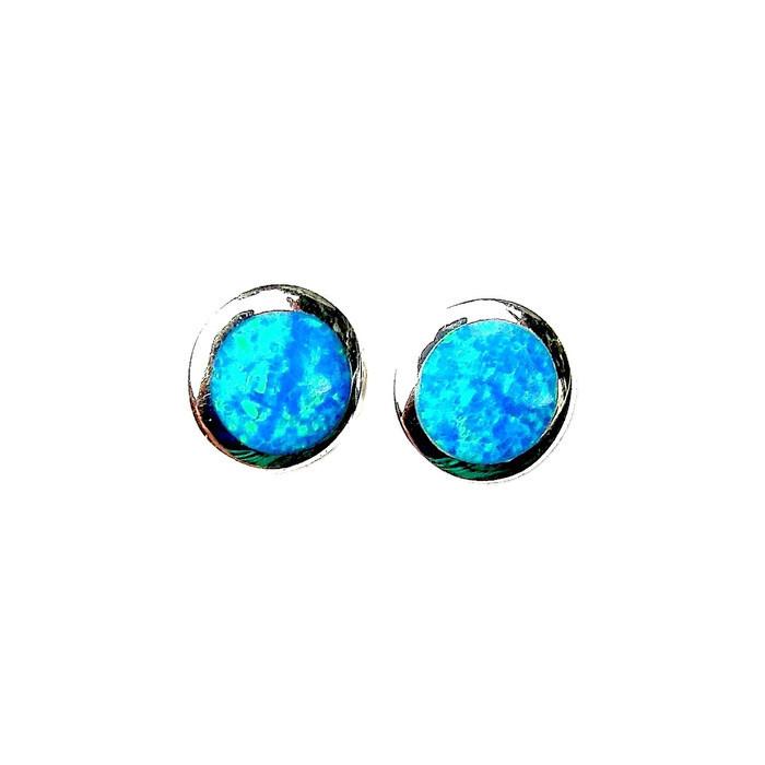Stunning Blue Opal Round Studs