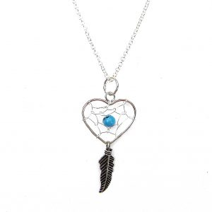 Beautiful Heart Dreamcatcher Necklace.
