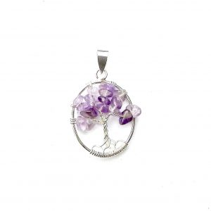 Beautiful Oval Amethyst Tree of Life Pendant.