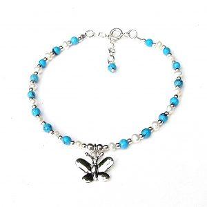 Beautiful Turquoise Butterfly Charm Bracelet