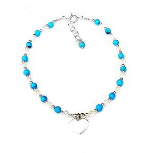 Beautiful Turquoise Heart Charm Bracelet