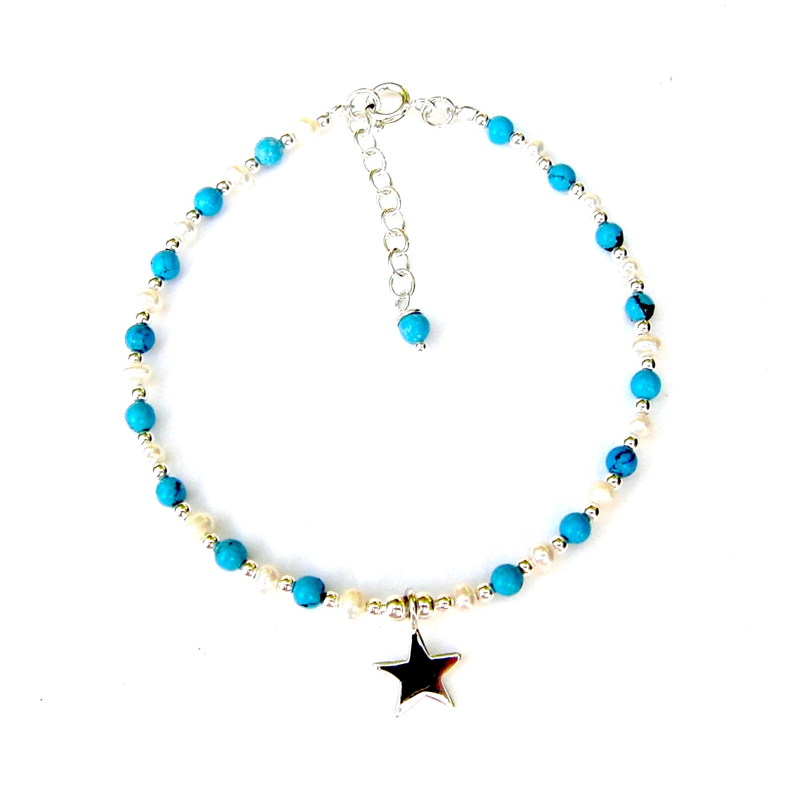 Beautiful Turquoise Star Charm Bracelet