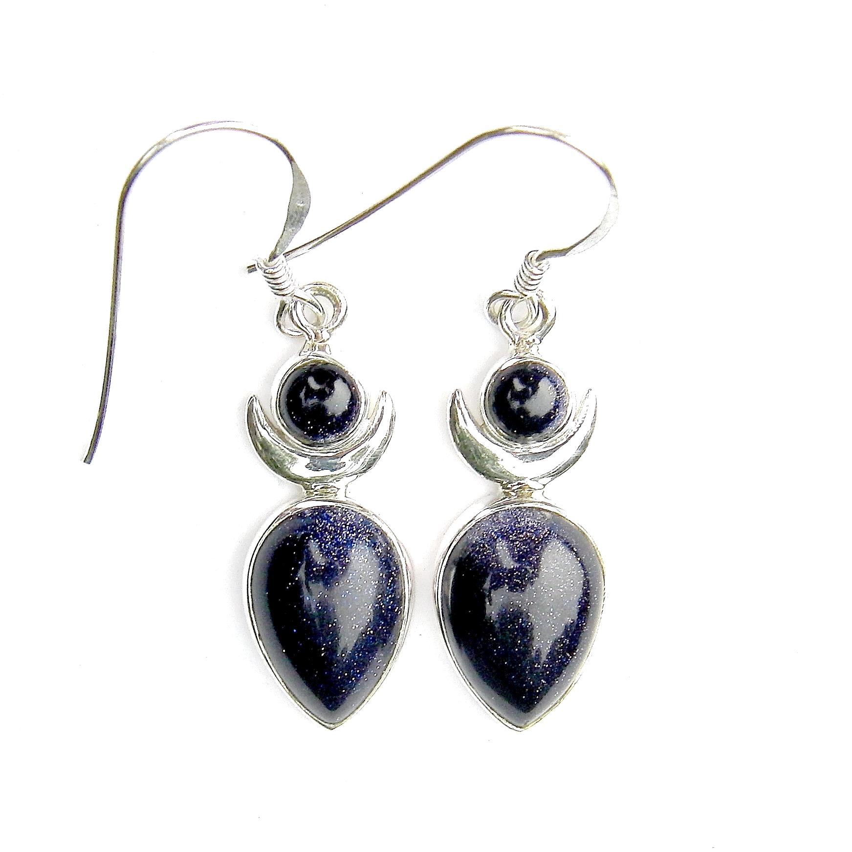 Blue Goldstone Large Goddess Earrings.