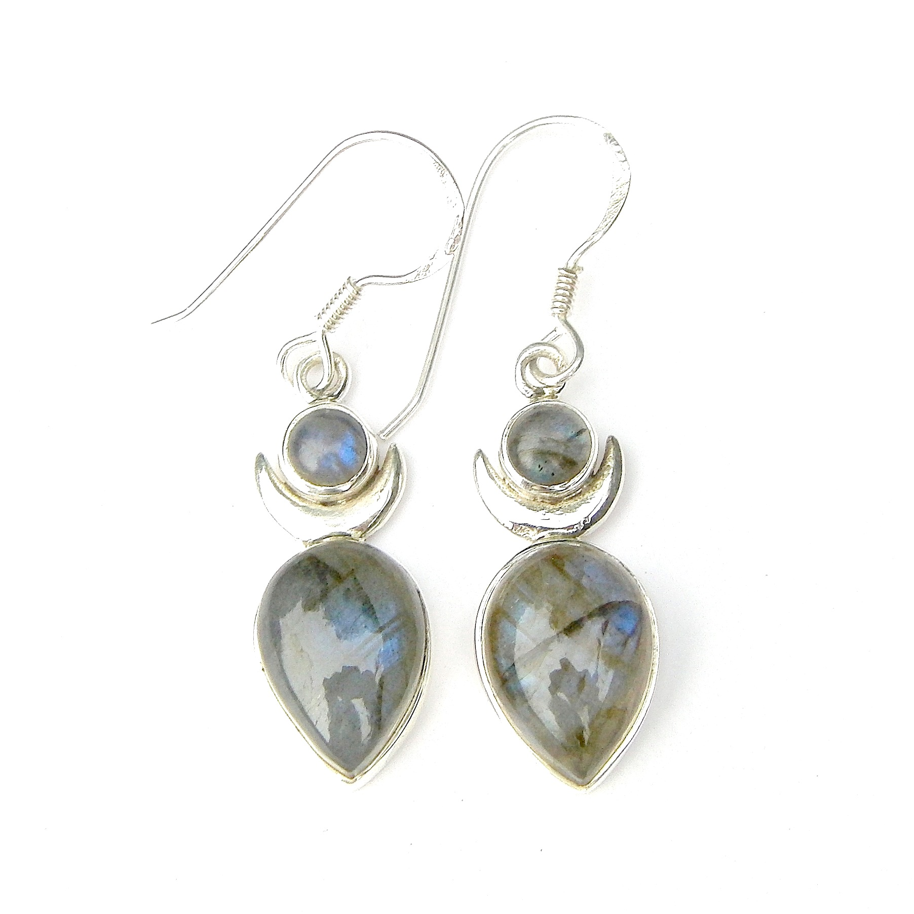 Labradorite Large Goddess Earrings