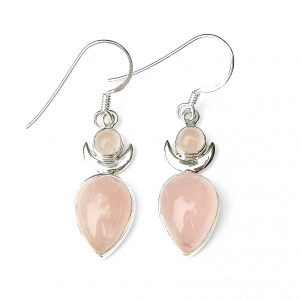 Rose Quartz Large Goddess Earrings