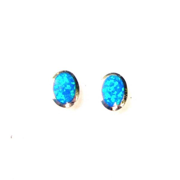 Beautiful Blue Opal Oval Studs