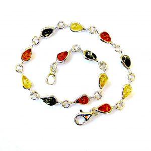 Beautiful Mixed Amber Dainty Cabochon Bracelet