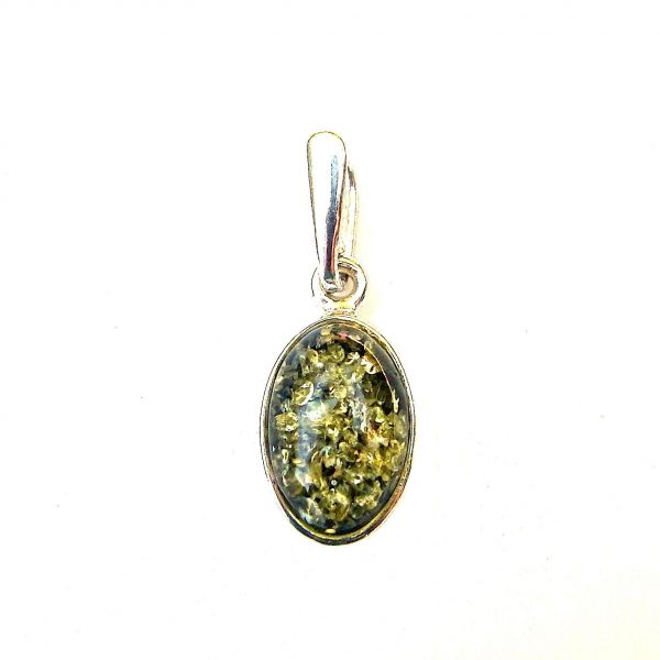 Pretty Dainty Green Amber Oval Pendant
