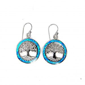 Absolutely Stunning Blue Opal Tree of Life Earrings