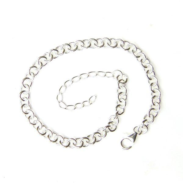 Heavy Weight Silver Charm Bracelet