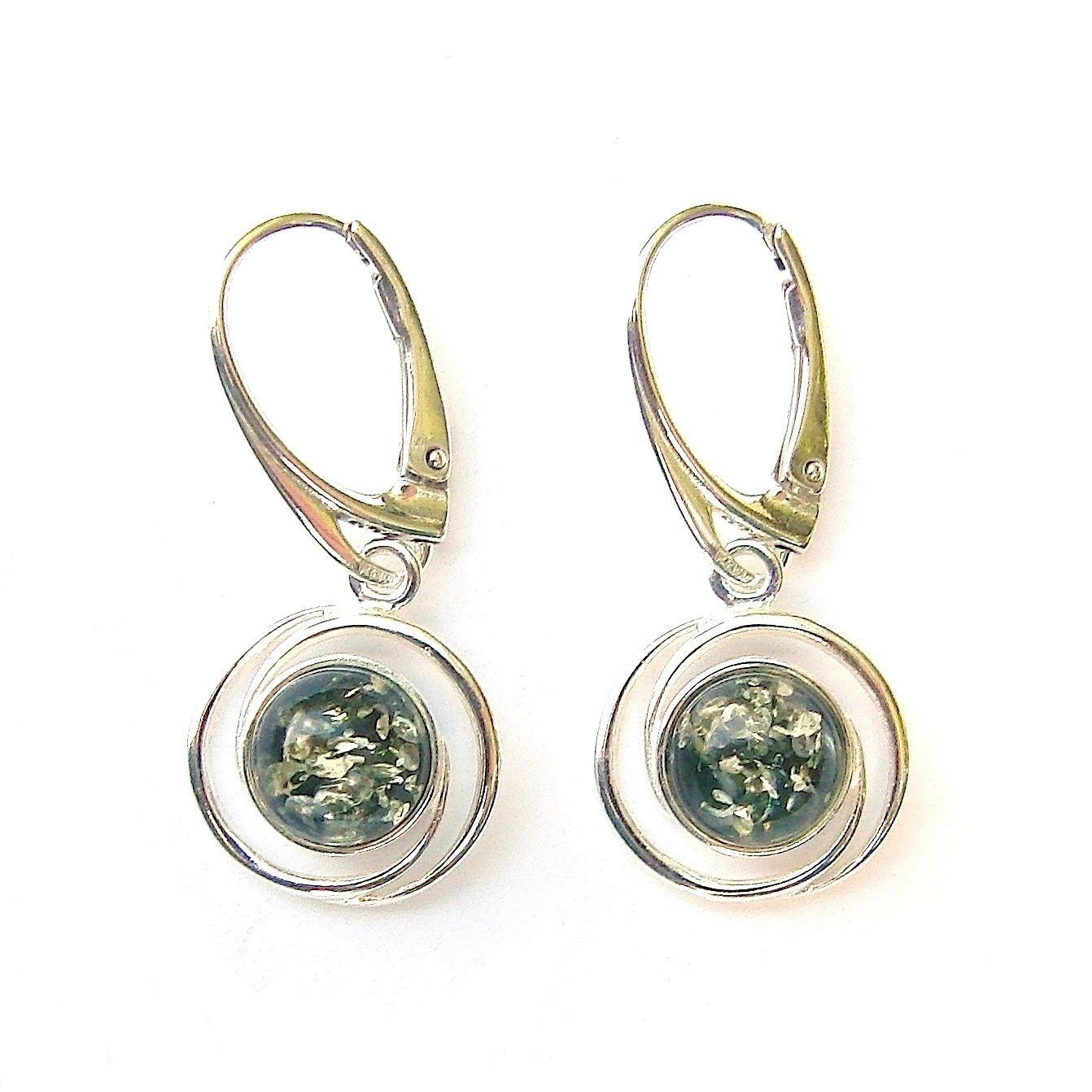 Stunning Green Amber Round Earrings